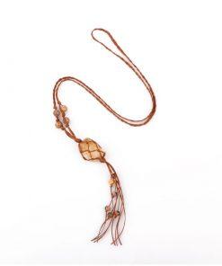 گردنبند مکرومه بافی با مدال راف سیترین